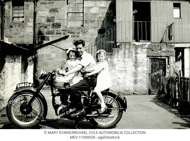 Man and two little girls on1948/49 BSA Gold Star motorcycle in the early 1950s
