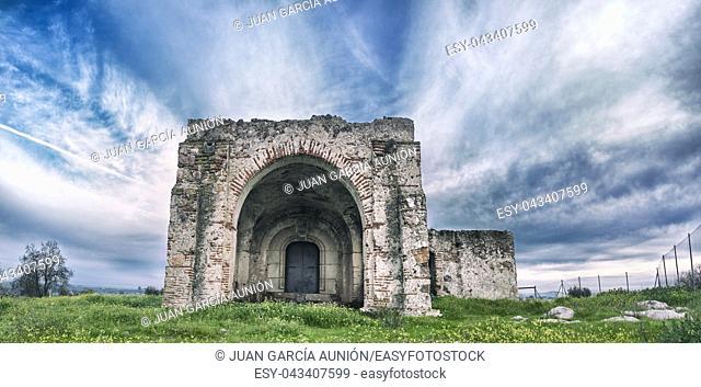 San Gregorio Hermitage Church at Montijo outskirts, Badajoz, Spain. Key rural destination at Extremadura