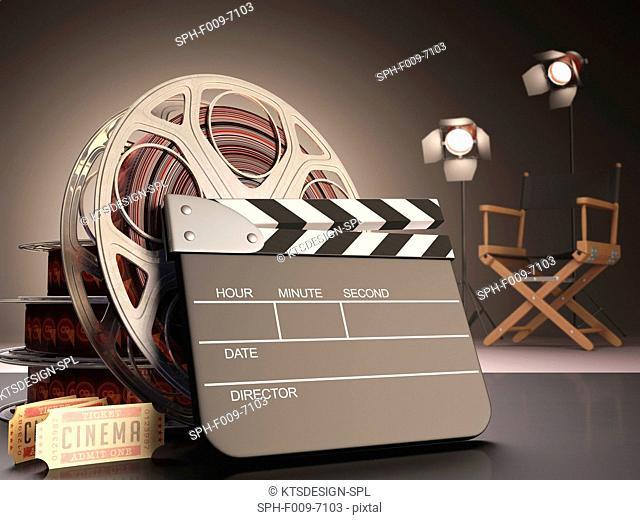 Clapperboard and cinema film reel, computer artwork