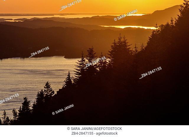 View from Mt. Fløyen, Bergen, Hordaland, Fjords, Norway