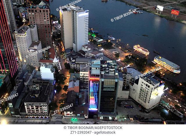Vietnam, Ho Chi Minh City, Saigon, District 1, aerial view, Saigon River,