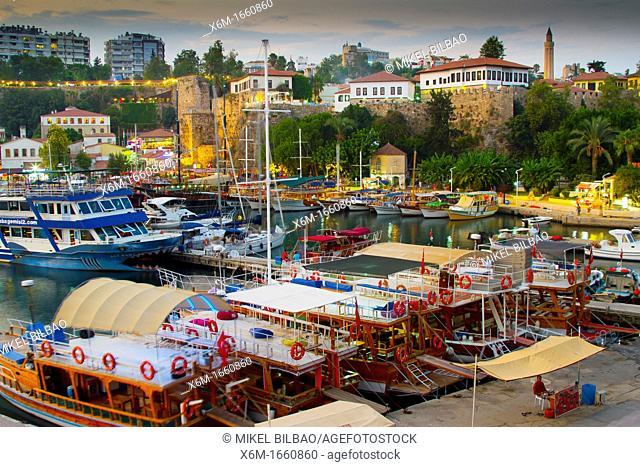 Harbour and boats  Kaleici  Antalya city  Antalya province  Mediterranean coast  Turkey