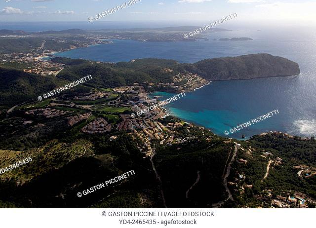 Aerial view of Mallorca south coast, Majorca, Balears Island, Spain