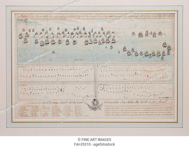 The naval Battle of Öland on 26 July 1789 by Anonymous /Watercolour and ink on paper/Cartography/1804/Sweden/Private Collection/44x67/History/Graphic arts/Die...