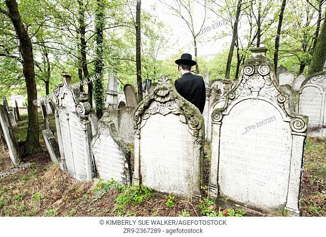 Jewish man visitis the Jewish Cemetery, South Moravia, Mikulov, Czech Republic, Europe