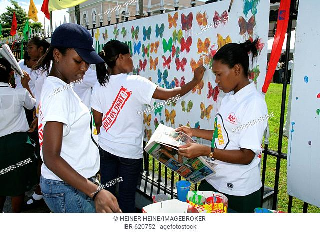 Women protesting violence against women in Georgetown, Guyana, South America