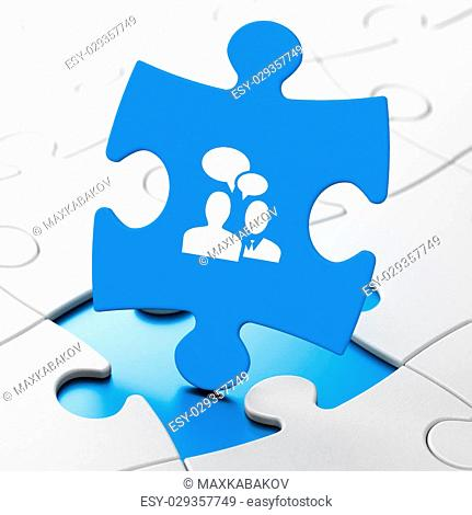 Business concept: Business Meeting on Blue puzzle pieces background, 3d render