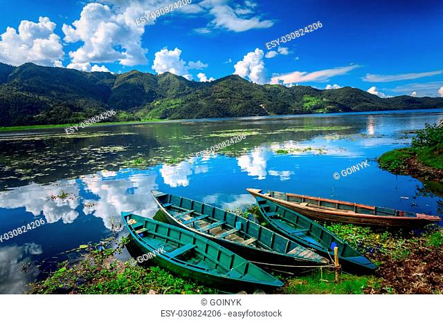 Boats on Pokhara Fewa Lake in Nepal
