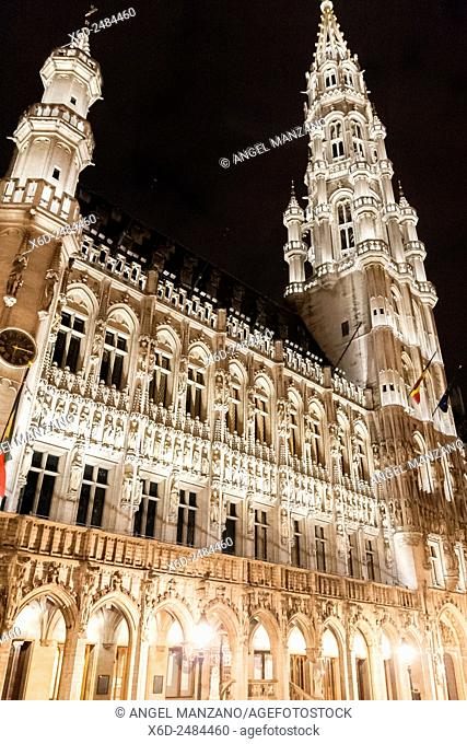 Town Hall on the famous Grande Place in the City Centre of Brussels, Belgium