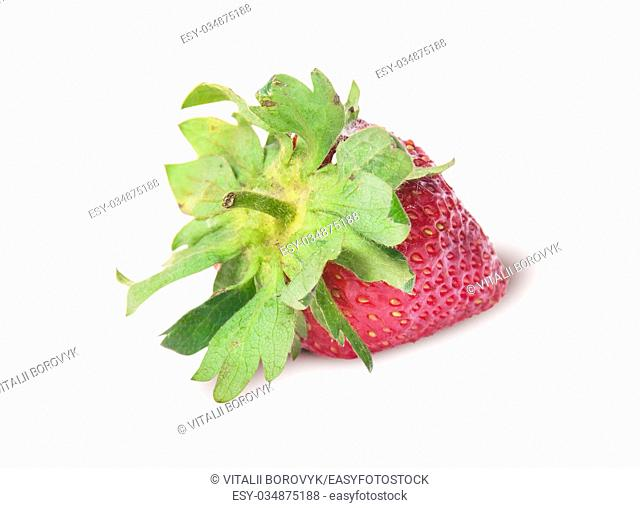 Single freshly strawberries backwards isolated on white background