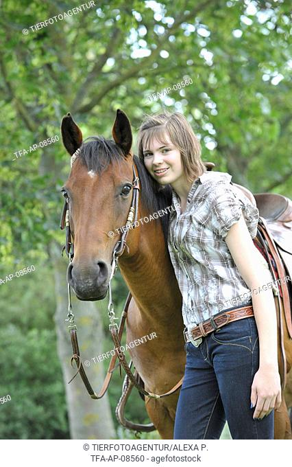 woman with Quarter Horse