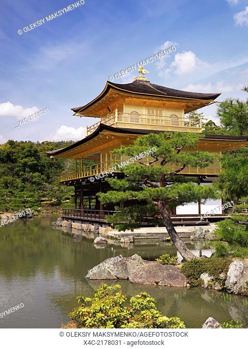 Kinkaku-ji, Temple of the Golden Pavilion. Rokuon-ji, Zen Buddhist temple in Kyoto, Japan. Springtime scenery
