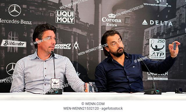 ATP World Tour Mercedes Cup 2014 at TC Weissenhof tennis club. Featuring: Michael Stich,Henri Leconte Where: Stuttgart, Germany When: 07 Jul 2014 Credit: WENN