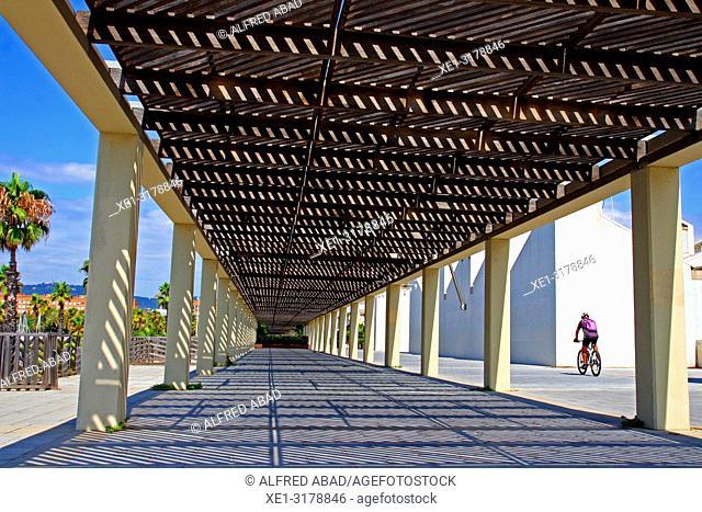 pergola, Port Olimpic, Barcelona, Catalonia, Spain