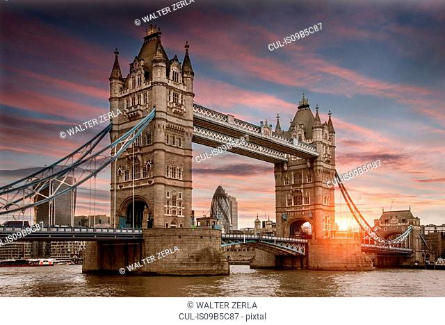 Cityscape of London at sunset, showing Tower Bridge, the Walkie Talkie and the River Thames, London, England