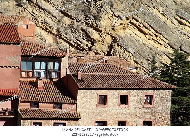 View of spanish town. Albarracin in Teruel, one of the most beautiful villages in Spain