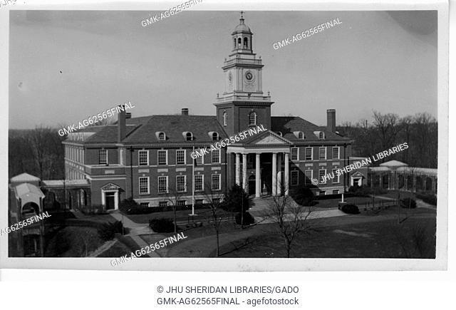 Gilman Hall Exterior, Front View, Facing along Upper Quadrangle, 1932