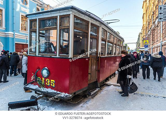 Old tram exposed during the 101th anniversary of the broken blockade of Leningrad 1918, in the streets of St Petersburg (Russia)