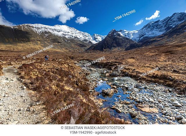 The Cuillin Hills from beside the Allt Coir a Mhadhaidh on the Fairy Pools walk, Glen Brittle, Isle of Skye, Inner Hebrides, Scotland, UK, Europe