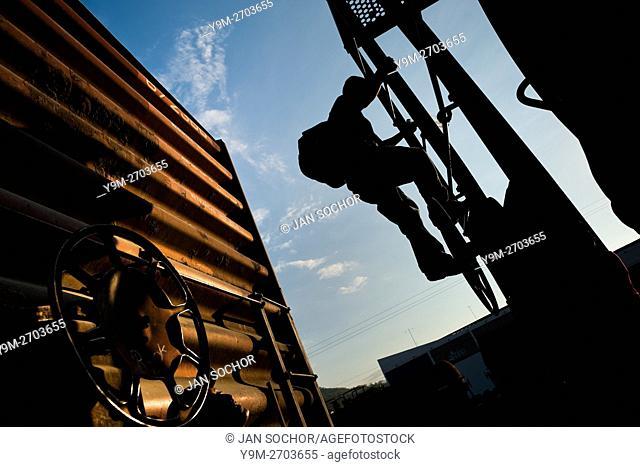 A young immigrant, heading from El Salvador to the United States, climbs up the cargo train called â. . El Tren de la Muerteâ