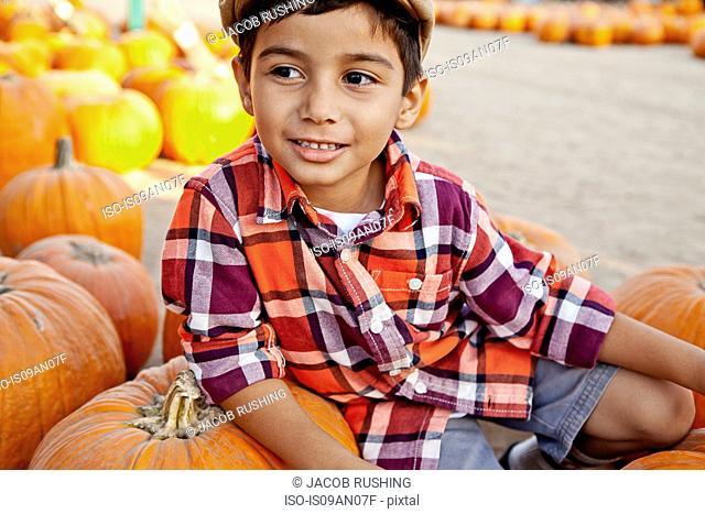 Portrait of boy sitting on pumpkin in farmyard