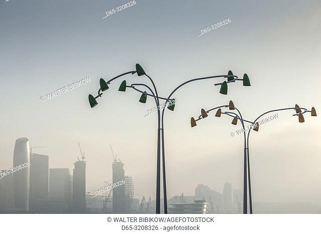 Azerbaijan, Baku, Bulvar Promenade, lamps, fog