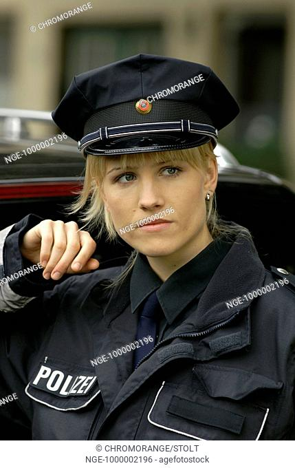 Policewoman is watching someone