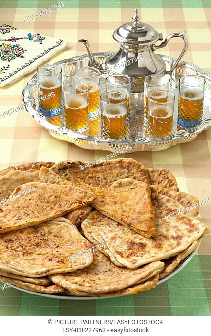 Moroccan filled Msemmen and tea for ramadan