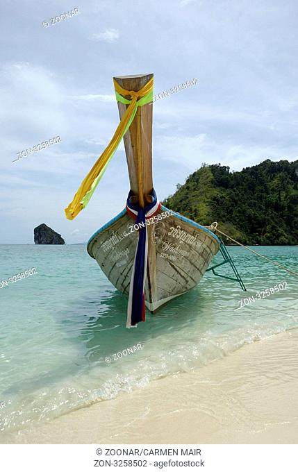 Longtail Boat on the Beach at Tup Island, Thailand