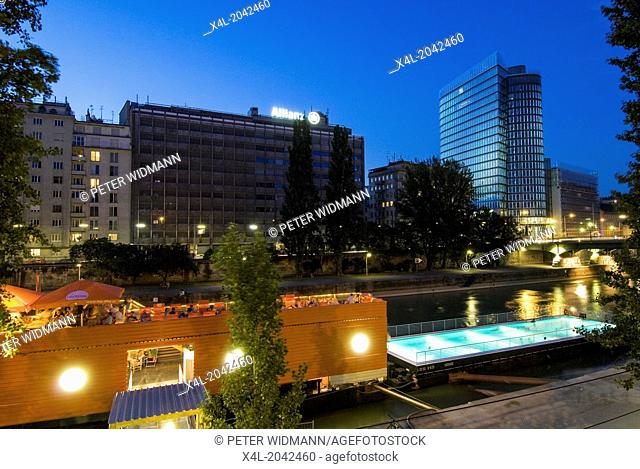 Vienna, swimming pool on the Danube Channel, Austria, Danube Channel