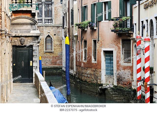 Houses on the canal, Duodo Palace Hotel, San Marco quarter, Venice, Venezia, Veneto, Italy, Europe