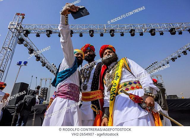 Mr Desert competition selfie at Desert Festival in Jaisalmer, Rajasthan, India