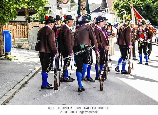 Men of the Tyrolean Militia on Patronage day in Reith bei Seefeld, Austria