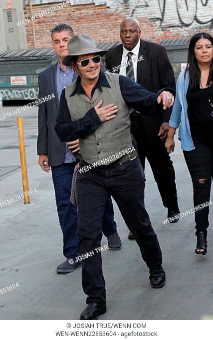 Johnny Depp comes over to greet fans as he departs his appearance on Jimmy Kimmel Live! Featuring: Johnny Depp Where: Los Angeles, California