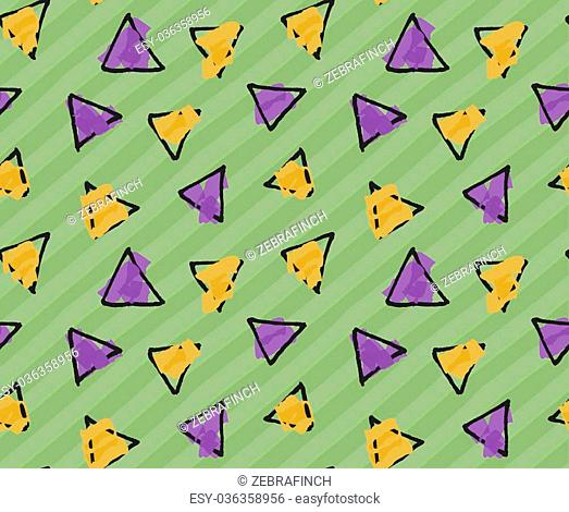 Rough triangles on green stripes.Hand drawn with ink and colored with marker brush seamless background.Creative hand made brushed design
