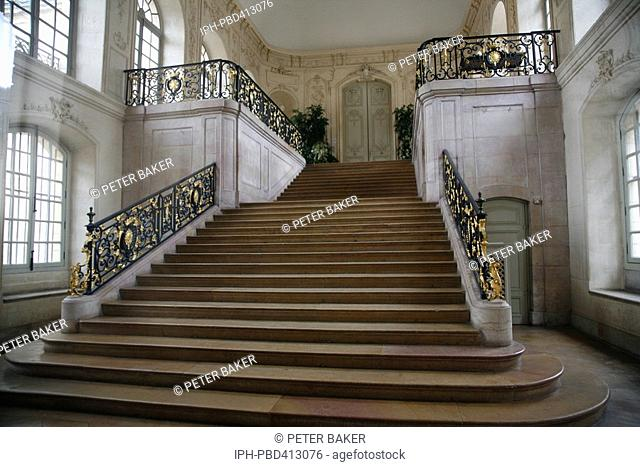 Dijon - A fine ornate staircase in the Palace des Ducs