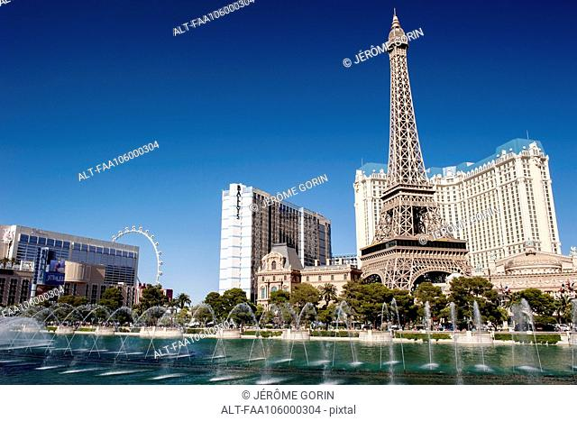 Luxury hotels on the Las Vegas Strip, Las Vegas, Nevada, USA