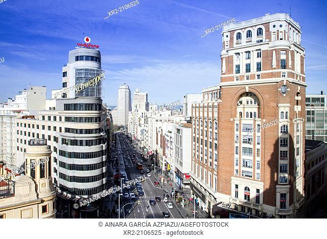 Gran Vía avenue and Carrion building, Madrid, Spain
