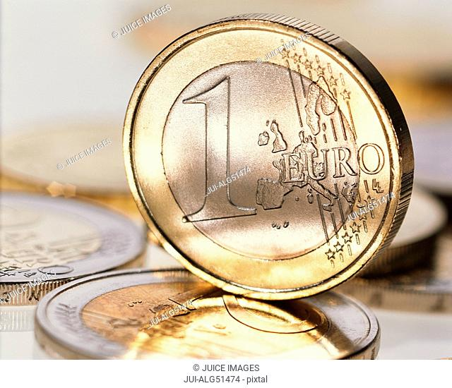 Close-up of Euro coin