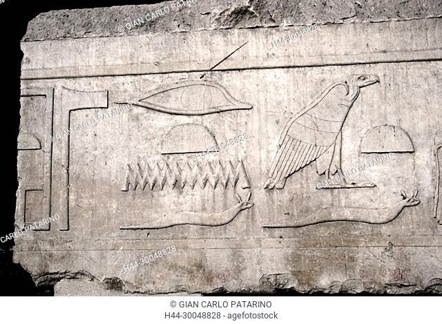 Karnak, Luxor, Egypt. Temple of Karnak sacred to god Amon: hieroglyphs on a wall