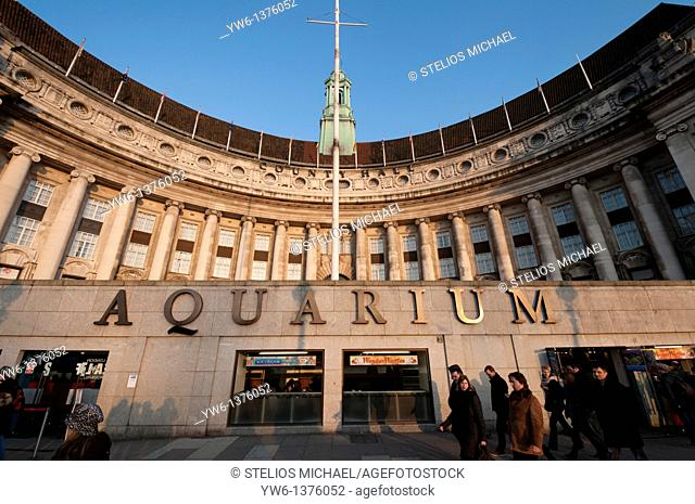 The Aquarium and County Hall at the South Bank in London,England