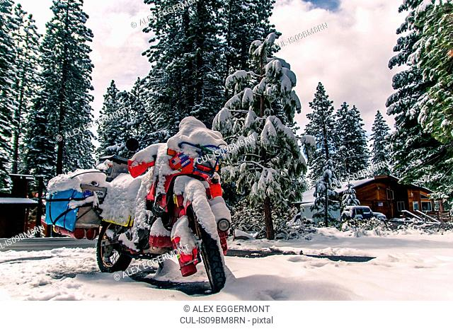 Touring bike covered in snow, Truckee, California, USA