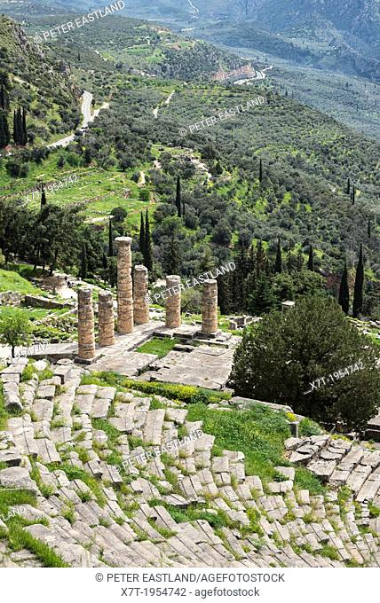 Looking down on the Temple of Apollo and the theater at the ancient site of Delphi in Thessaly, Central Greece