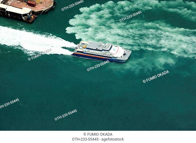 Bird's eye view of First ferry and pier from Sky100, 393 metres above sea level, Hong Kong