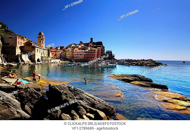 View of Venazza village , with its marina, Liguria, Italy