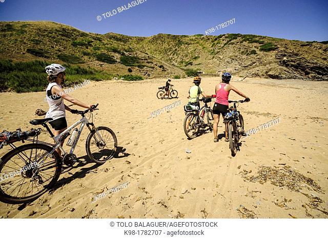 Cyclists, Cala En Calderer, Ferreries, Menorca, Balearic Islands, Spain, Europe