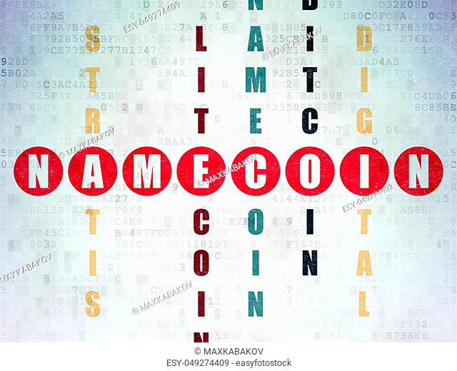Cryptocurrency concept: Painted red word Namecoin in solving Crossword Puzzle on Digital Data Paper background
