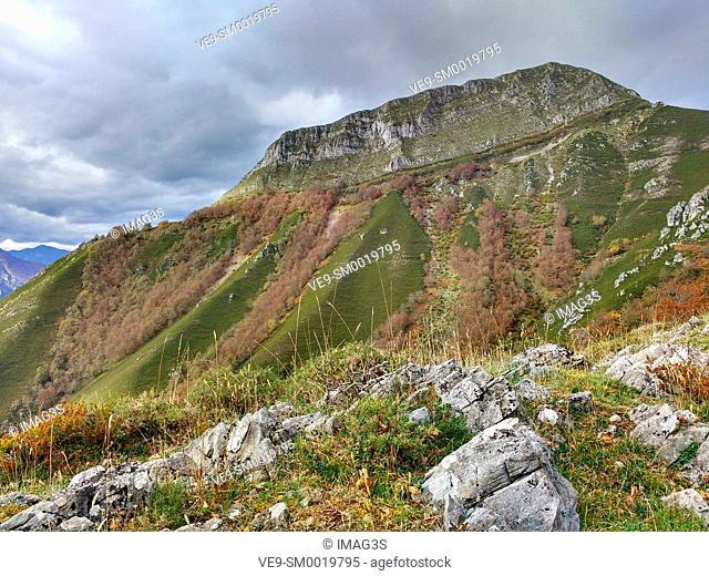 Pico La Senda (1705 meters) near La Foz village, Redes Natural Park, Asturias, Spain