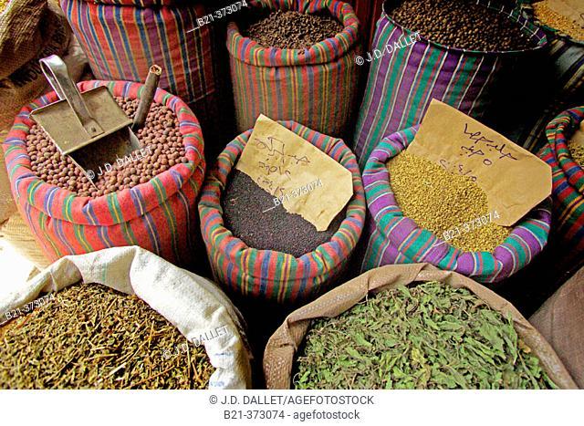 Egypt. Cairo. Medicinal plants at Abdelhatif Hazza Shop at Sharia Ahmed Maher
