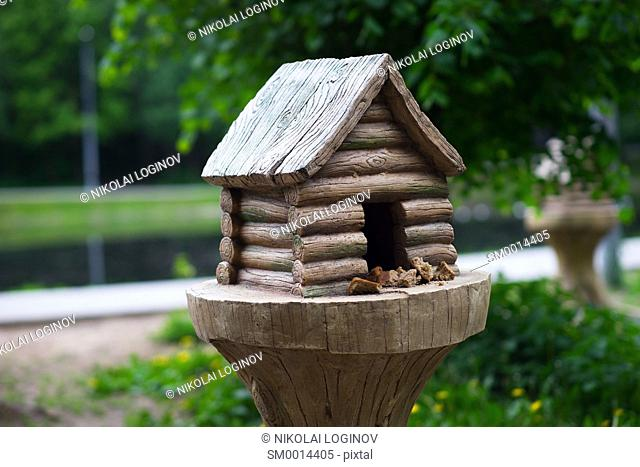 Bird feeder cabin in Russia background hd